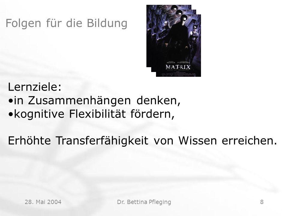 28. Mai 2004Dr. Bettina Pfleging8 Folgen für die Bildung Lernziele: in Zusammenhängen denken, kognitive Flexibilität fördern, Erhöhte Transferfähigkei
