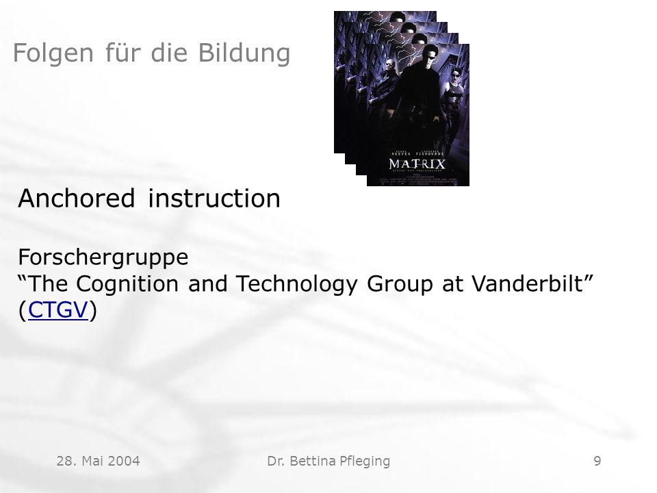 "28. Mai 2004Dr. Bettina Pfleging9 Folgen für die Bildung Anchored instruction Forschergruppe ""The Cognition and Technology Group at Vanderbilt"" (CTGV)"