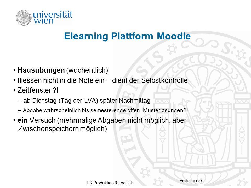 EK Produktion & Logistik Einleitung/9 Elearning Plattform Moodle Hausübungen (wöchentlich) fliessen nicht in die Note ein – dient der Selbstkontrolle