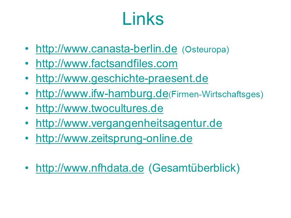 Links http://www.canasta-berlin.de (Osteuropa)http://www.canasta-berlin.de http://www.factsandfiles.com http://www.geschichte-praesent.de http://www.ifw-hamburg.de ( Firmen-Wirtschaftsges)http://www.ifw-hamburg.de http://www.twocultures.de http://www.vergangenheitsagentur.de http://www.zeitsprung-online.de http://www.nfhdata.de (Gesamtüberblick)http://www.nfhdata.de
