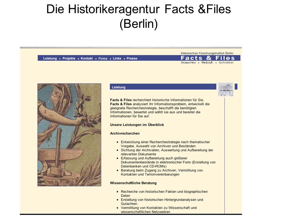 Die Historikeragentur Facts &Files (Berlin)