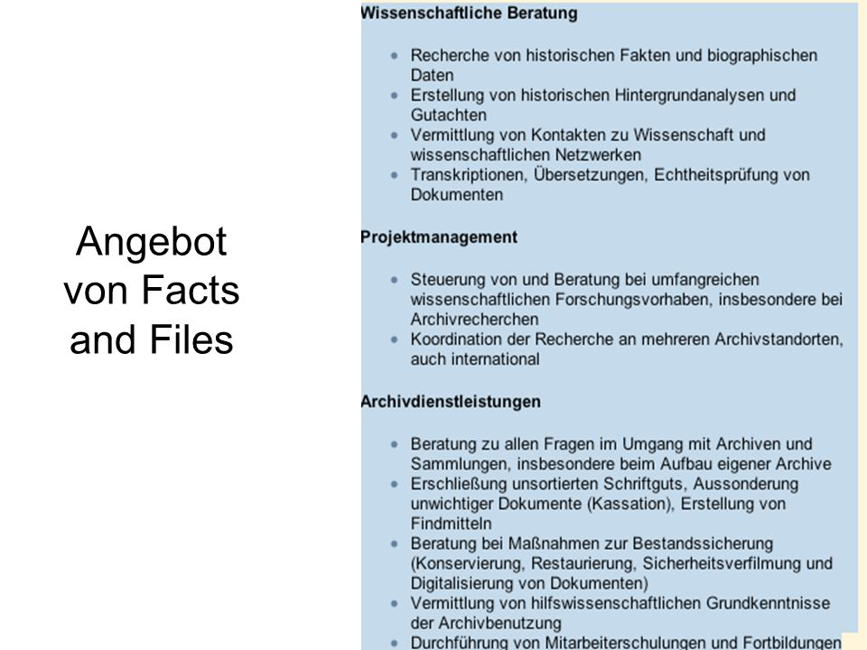 Angebot von Facts and Files