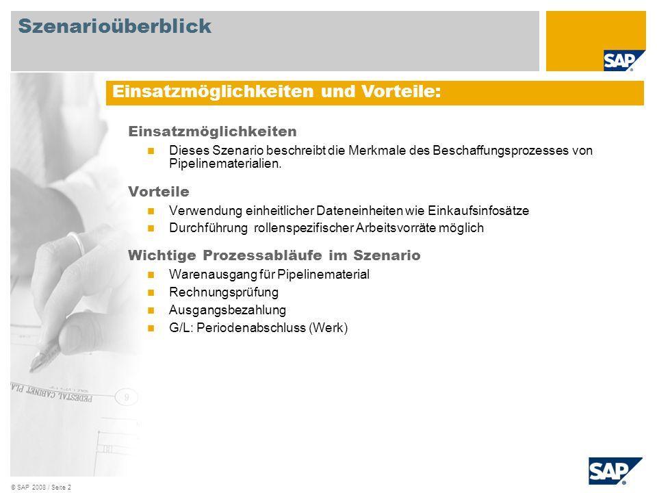 © SAP 2008 / Seite 3 Erforderlich SAP EHP3 for SAP ERP 6.0 An den Abläufen beteiligte Benutzerrollen Lagersachbearbeiter Leiter Kreditorenbuchhaltung Erforderliche SAP Anwendungen: Szenarioüberblick
