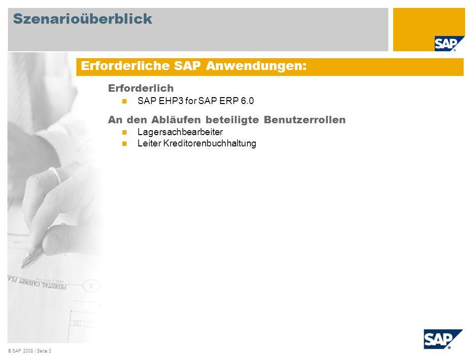 © SAP 2008 / Seite 4 Detaillierte Prozessbeschreibung: Beschaffung von Pipelinematerialien Materialspezifische Informationen, darunter Lieferantenpreisfindung und Beschaffungszeit des Angebots, befinden sich in den Stammdaten.