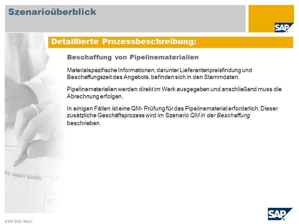 © SAP 2008 / Seite 5 Ablaufdiagramm Lagersachbearbeiter Kreditoren- buchhaltung Ereignis Verbindlichkeiten Pipeline.