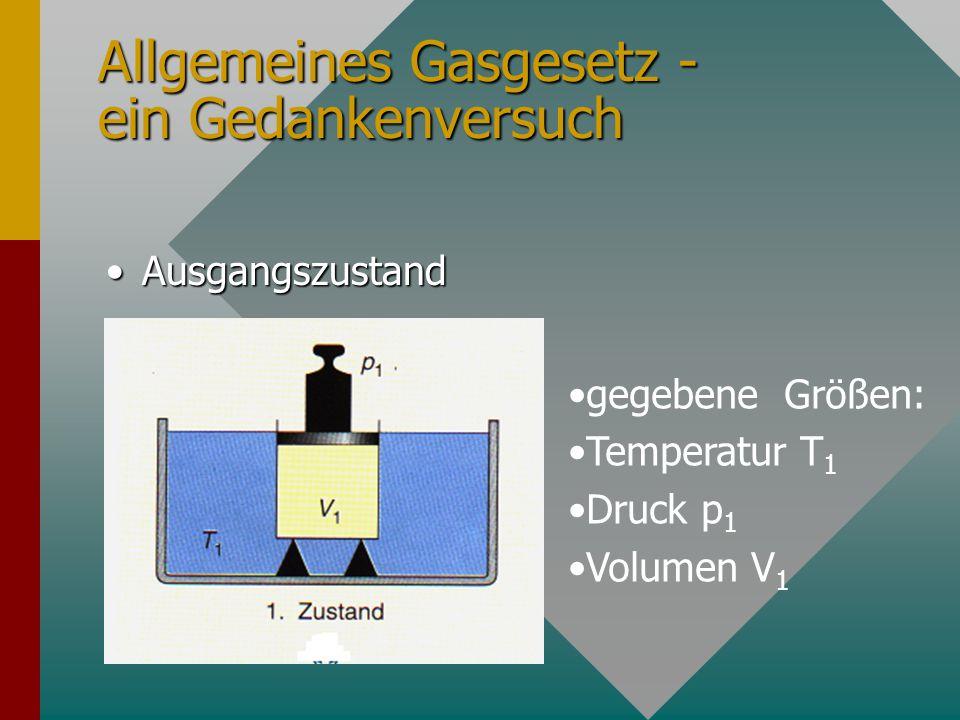 Allgemeines Gasgesetz - ein Gedankenversuch AusgangszustandAusgangszustand gegebene Größen: Temperatur T 1 Druck p 1 Volumen V 1