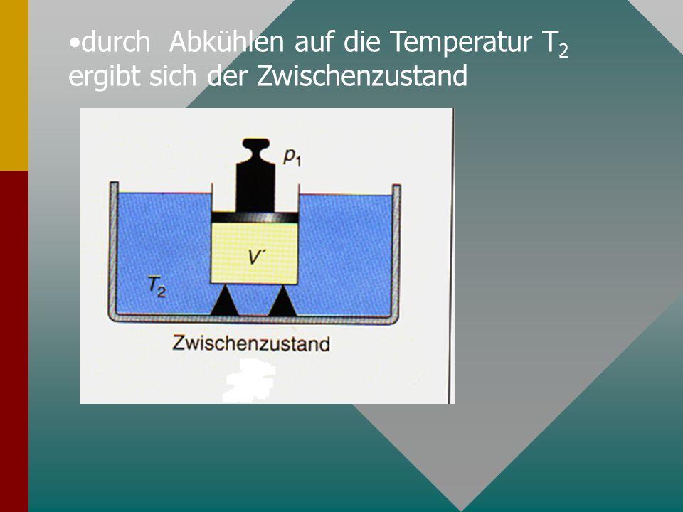 durch Abkühlen auf die Temperatur T 2 ergibt sich der Zwischenzustand