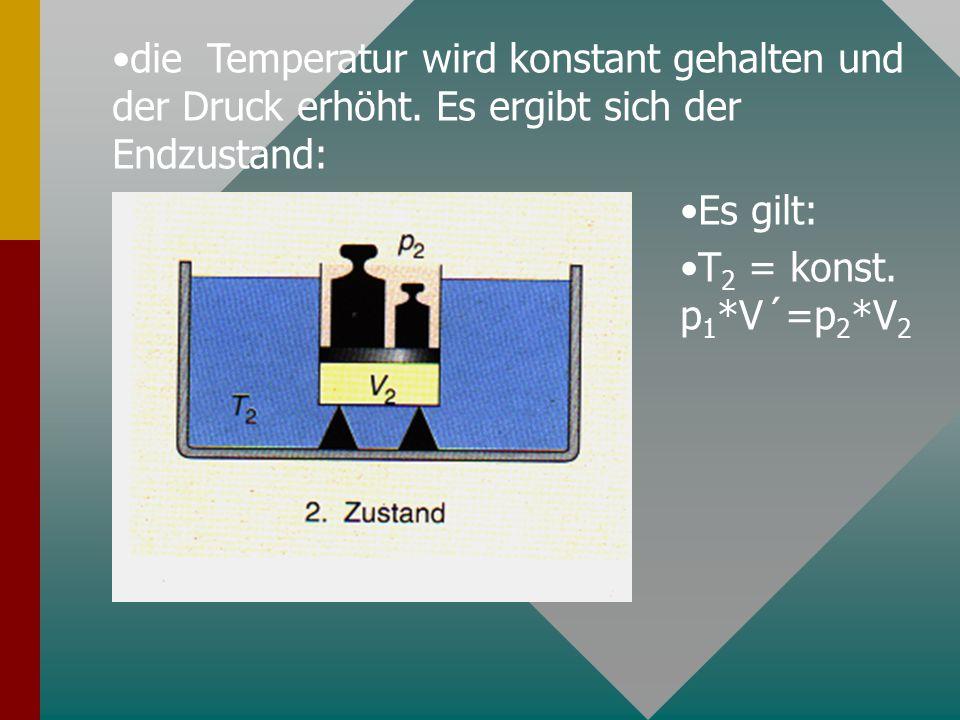 die Temperatur wird konstant gehalten und der Druck erhöht. Es ergibt sich der Endzustand: Es gilt: T 2 = konst. p 1 *V´=p 2 *V 2