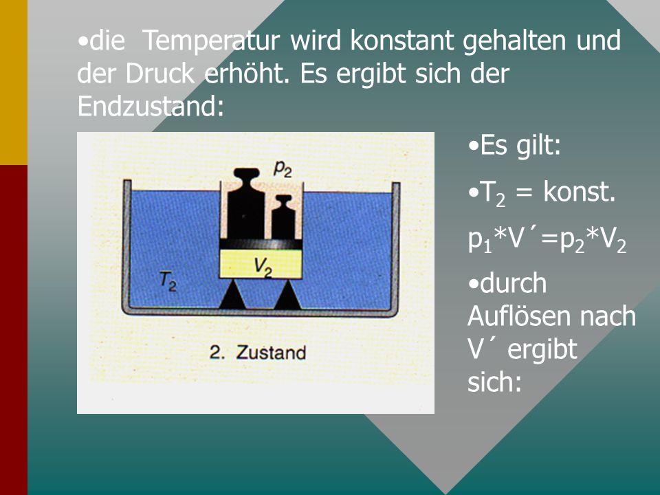 die Temperatur wird konstant gehalten und der Druck erhöht. Es ergibt sich der Endzustand: Es gilt: T 2 = konst. p 1 *V´=p 2 *V 2 durch Auflösen nach