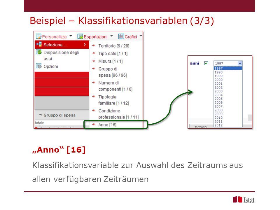 """""""Anno [16] Klassifikationsvariable zur Auswahl des Zeitraums aus allen verfügbaren Zeiträumen Beispiel – Klassifikationsvariablen (3/3)"""