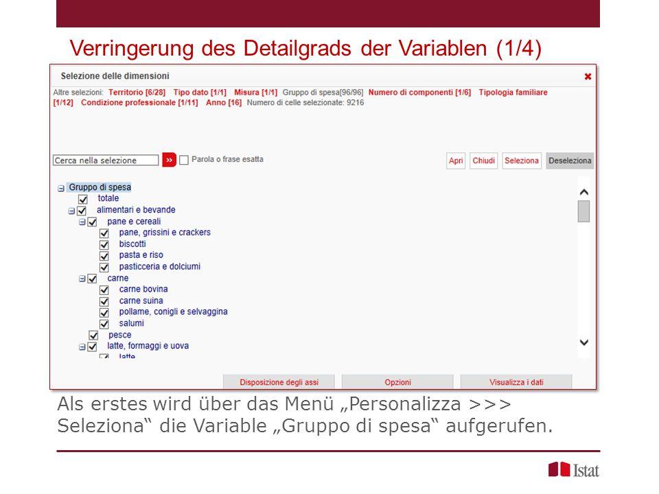 """Verringerung des Detailgrads der Variablen (1/4) Als erstes wird über das Menü """"Personalizza >>> Seleziona die Variable """"Gruppo di spesa aufgerufen."""