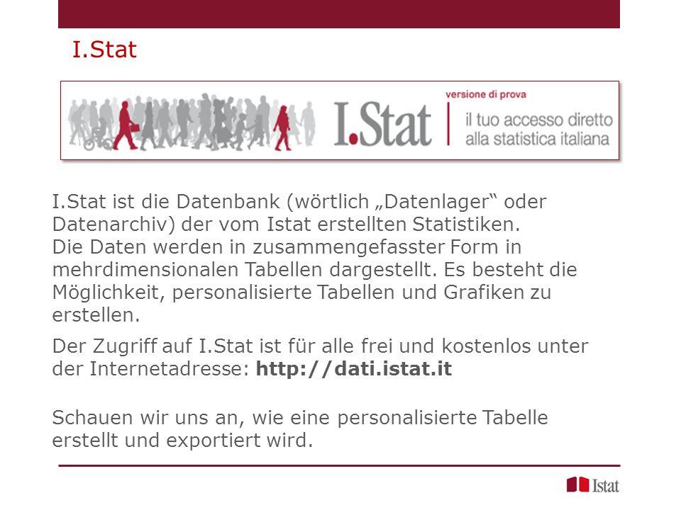 """I.Stat ist die Datenbank (wörtlich """"Datenlager oder Datenarchiv) der vom Istat erstellten Statistiken."""