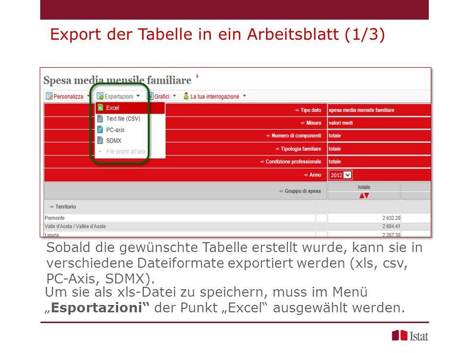 Export der Tabelle in ein Arbeitsblatt (1/3) Sobald die gewünschte Tabelle erstellt wurde, kann sie in verschiedene Dateiformate exportiert werden (xls, csv, PC-Axis, SDMX).