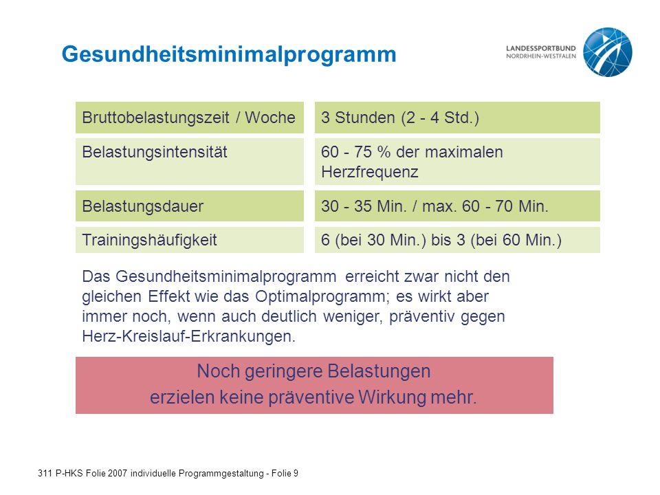 Gesundheitsminimalprogramm 311 P-HKS Folie 2007 individuelle Programmgestaltung - Folie 9 Bruttobelastungszeit / Woche3 Stunden (2 - 4 Std.) Belastung
