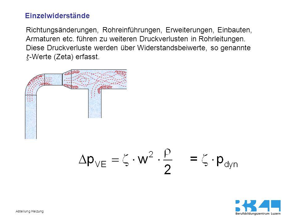 Abteilung Heizung Äquivalente (gleichwertige) Rohrlängen An Stelle von Zetawerten werden oft auch gleichwertige Rohrlängen angegeben.