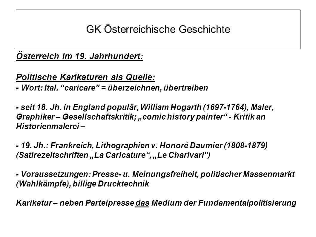 """GK Österreichische Geschichte Österreich im 19. Jahrhundert: Politische Karikaturen als Quelle: - Wort: Ital. """"caricare"""" = überzeichnen, übertreiben -"""