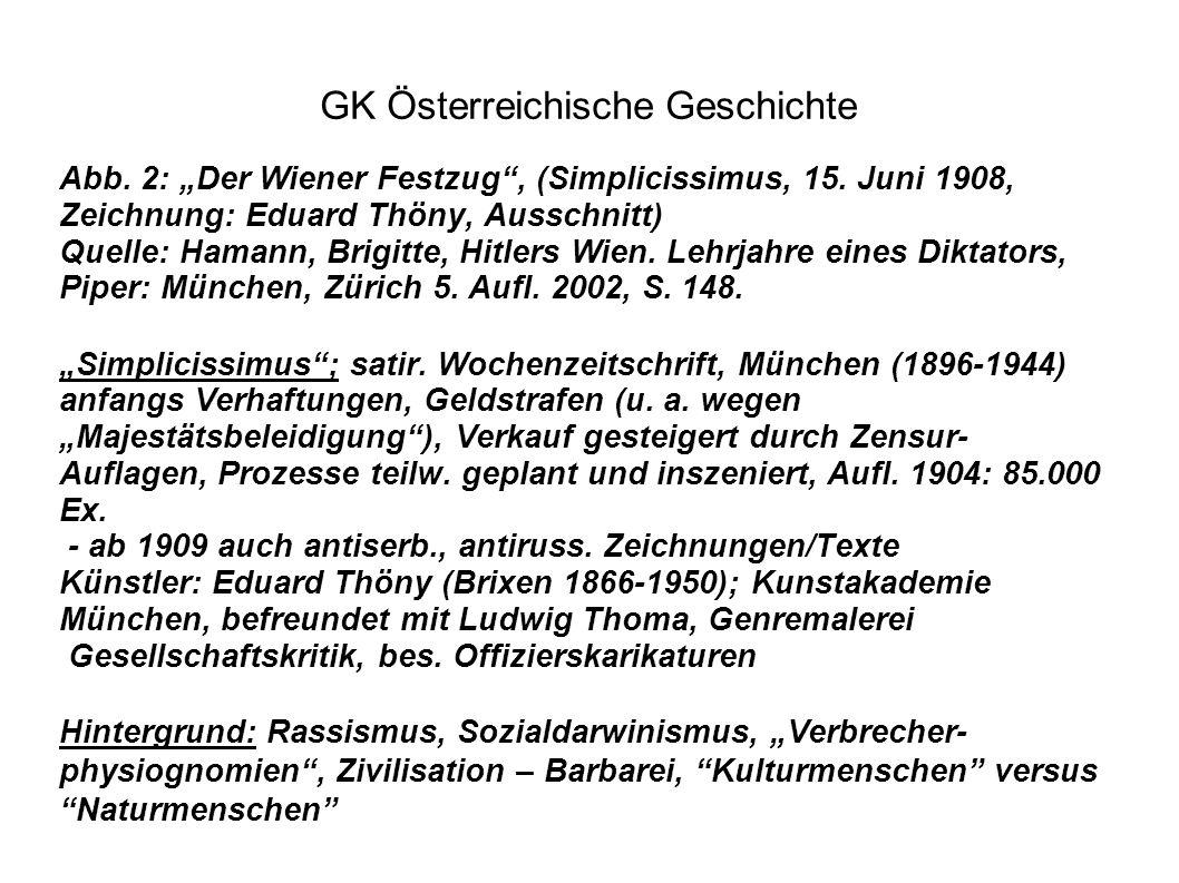 """Abb. 2: """"Der Wiener Festzug"""", (Simplicissimus, 15. Juni 1908, Zeichnung: Eduard Thöny, Ausschnitt) Quelle: Hamann, Brigitte, Hitlers Wien. Lehrjahre e"""