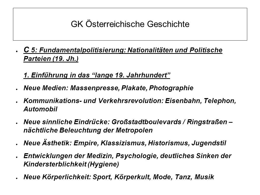 """GK Österreichische Geschichte ● C 5: Fundamentalpolitisierung: Nationalitäten und Politische Parteien (19. Jh.) 1. Einführung in das """"lange 19. Jahrhu"""