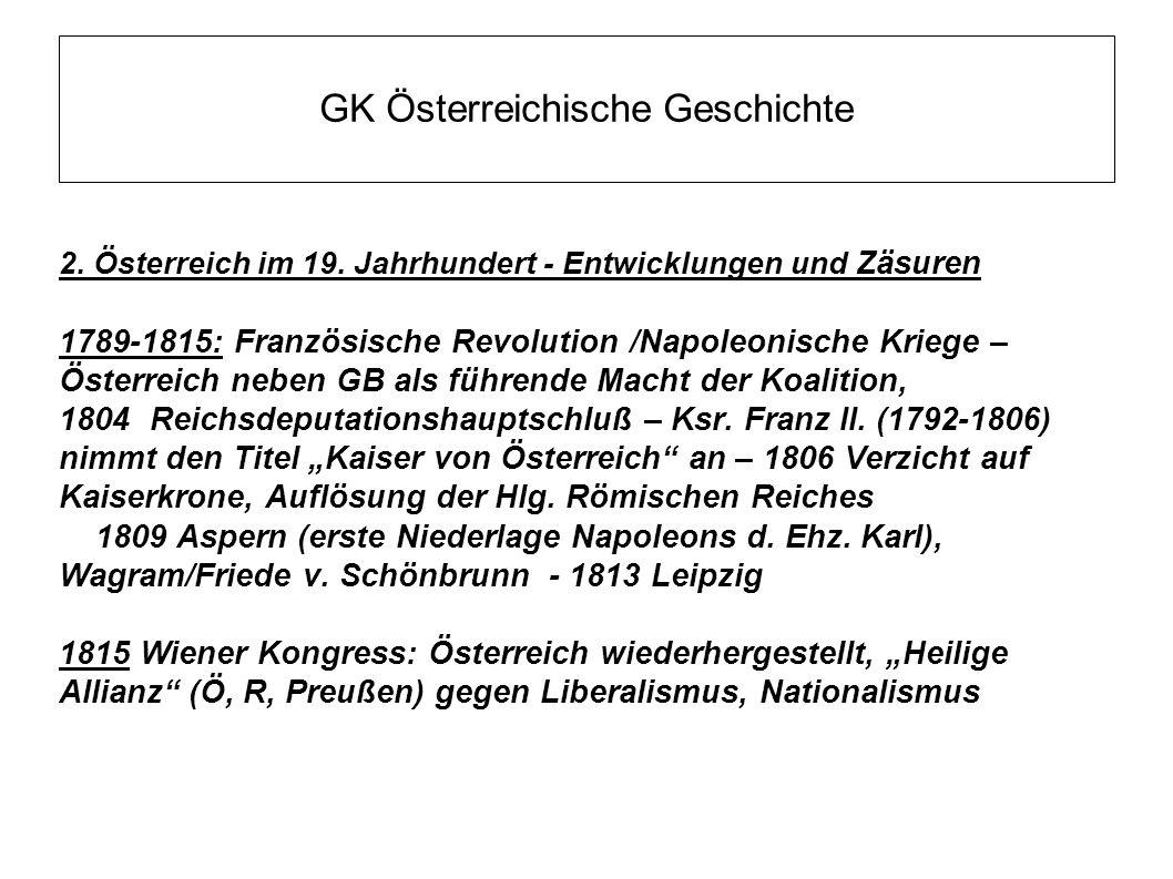 GK Österreichische Geschichte 2. Österreich im 19. Jahrhundert - Entwicklungen und Zäsuren 1789-1815: Französische Revolution /Napoleonische Kriege –