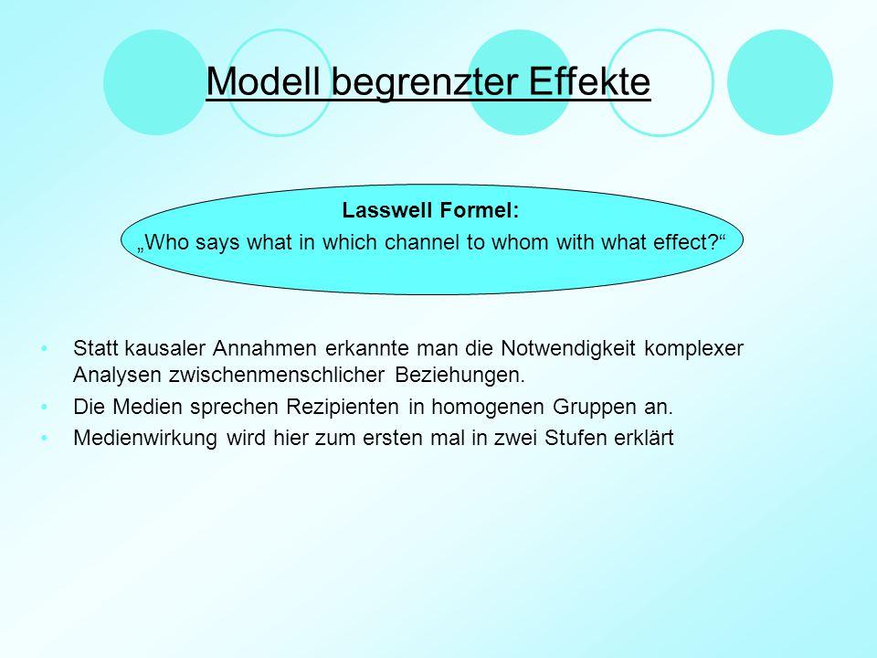 """Lasswell Formel: """"Who says what in which channel to whom with what effect?"""" Statt kausaler Annahmen erkannte man die Notwendigkeit komplexer Analysen"""