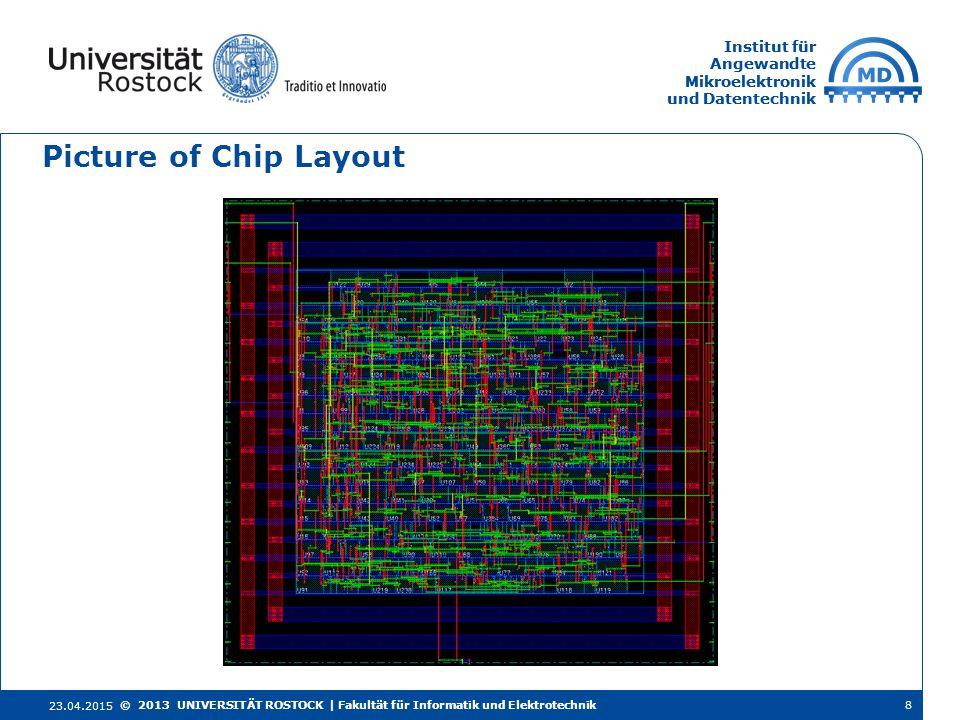 Institut für Angewandte Mikroelektronik und Datentechnik Institut für Angewandte Mikroelektronik und Datentechnik Picture of Chip Layout 23.04.2015 8© 2013 UNIVERSITÄT ROSTOCK | Fakultät für Informatik und Elektrotechnik