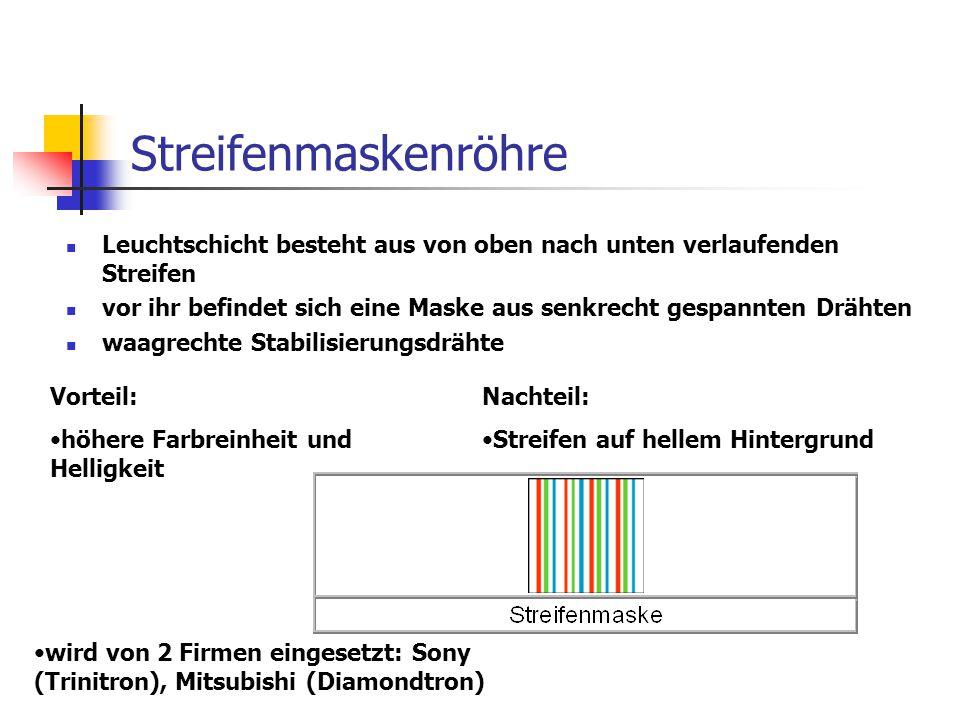 CromaClear Bildröhre entwickelt von NEC Aufbau der Leuchtschicht gleicht der Streifenmaskenröhre Schattenmaskenröhre besteht aus ovalen Löchern (=Schlitze) Elektronenkanonen sind in einer Ebene angeordnet (In-Line) vereinigt Vorteile der Loch- und Streifenmaskenröhre erhöhte Lichtausbeute unempfindlich gegen Erschütterungen guter Farbkontrast sehr gute Schärfe