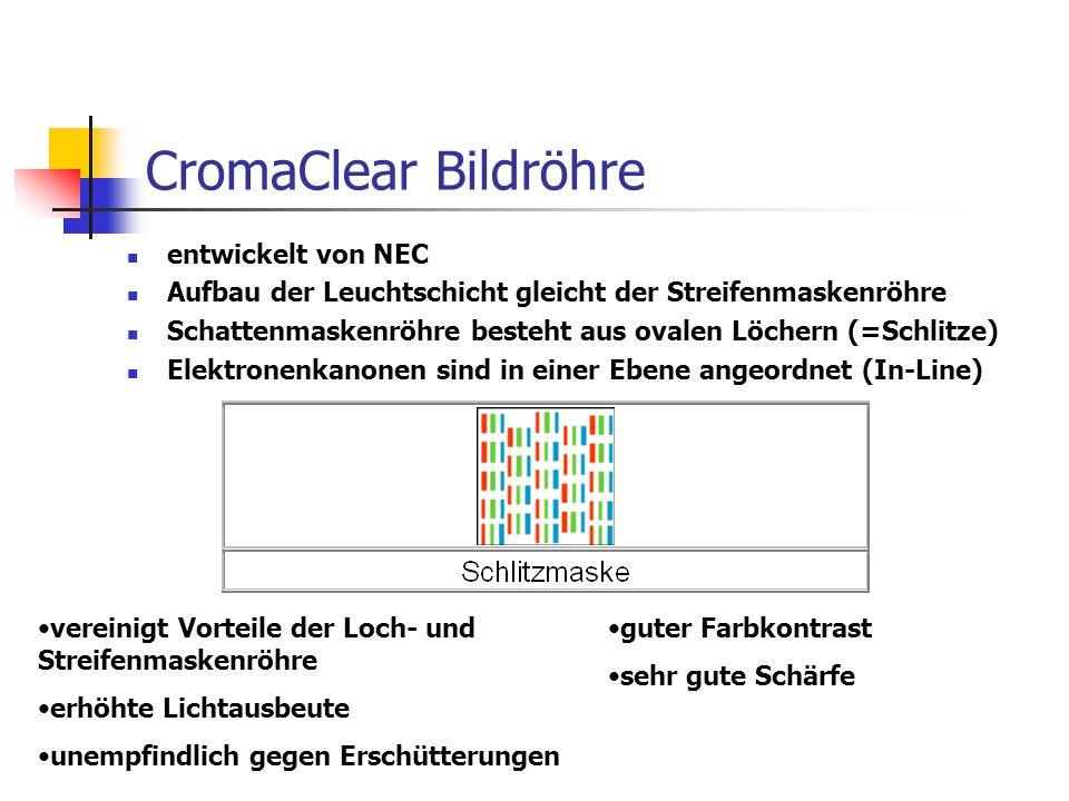 CromaClear Bildröhre entwickelt von NEC Aufbau der Leuchtschicht gleicht der Streifenmaskenröhre Schattenmaskenröhre besteht aus ovalen Löchern (=Schl