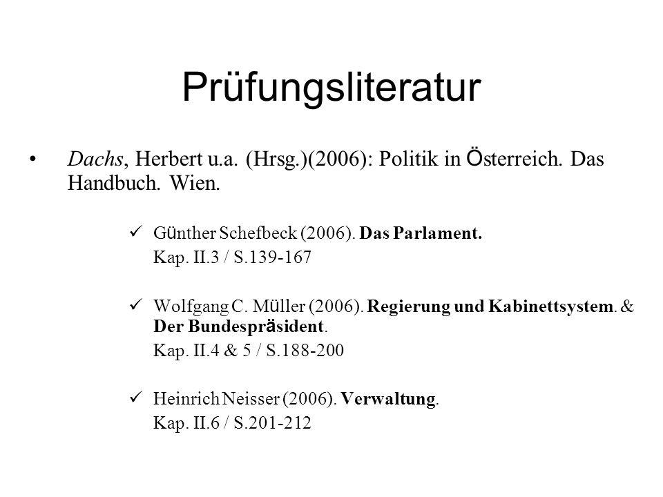 Prüfungsliteratur Dachs, Herbert u.a. (Hrsg.)(2006): Politik in Ö sterreich. Das Handbuch. Wien. G ü nther Schefbeck (2006). Das Parlament. Kap. II.3