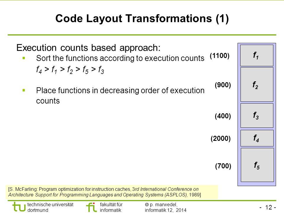 - 12 - technische universität dortmund fakultät für informatik  p. marwedel, informatik 12, 2014 TU Dortmund Code Layout Transformations (1) Executio