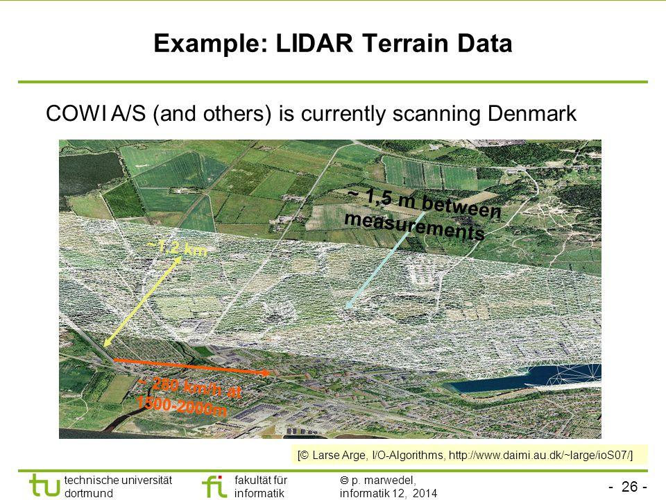 - 26 - technische universität dortmund fakultät für informatik  p. marwedel, informatik 12, 2014 TU Dortmund Example: LIDAR Terrain Data ~1,2 km ~ 28