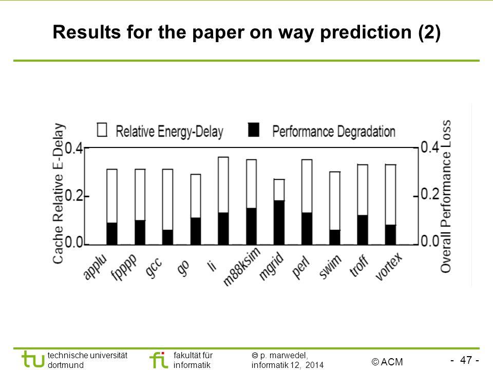 - 47 - technische universität dortmund fakultät für informatik  p. marwedel, informatik 12, 2014 TU Dortmund Results for the paper on way prediction