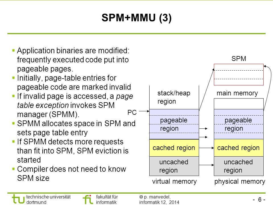 - 6 - technische universität dortmund fakultät für informatik  p. marwedel, informatik 12, 2014 TU Dortmund SPM+MMU (3)  Application binaries are mo