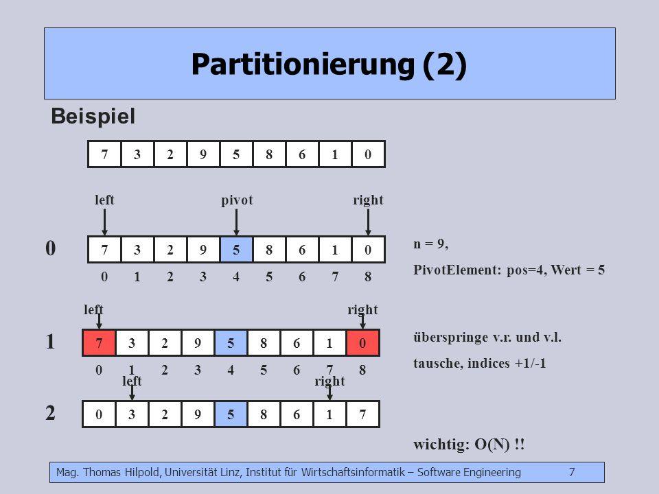 Mag. Thomas Hilpold, Universität Linz, Institut für Wirtschaftsinformatik – Software Engineering 7 Partitionierung (2) Beispiel 732958610 732958610 01