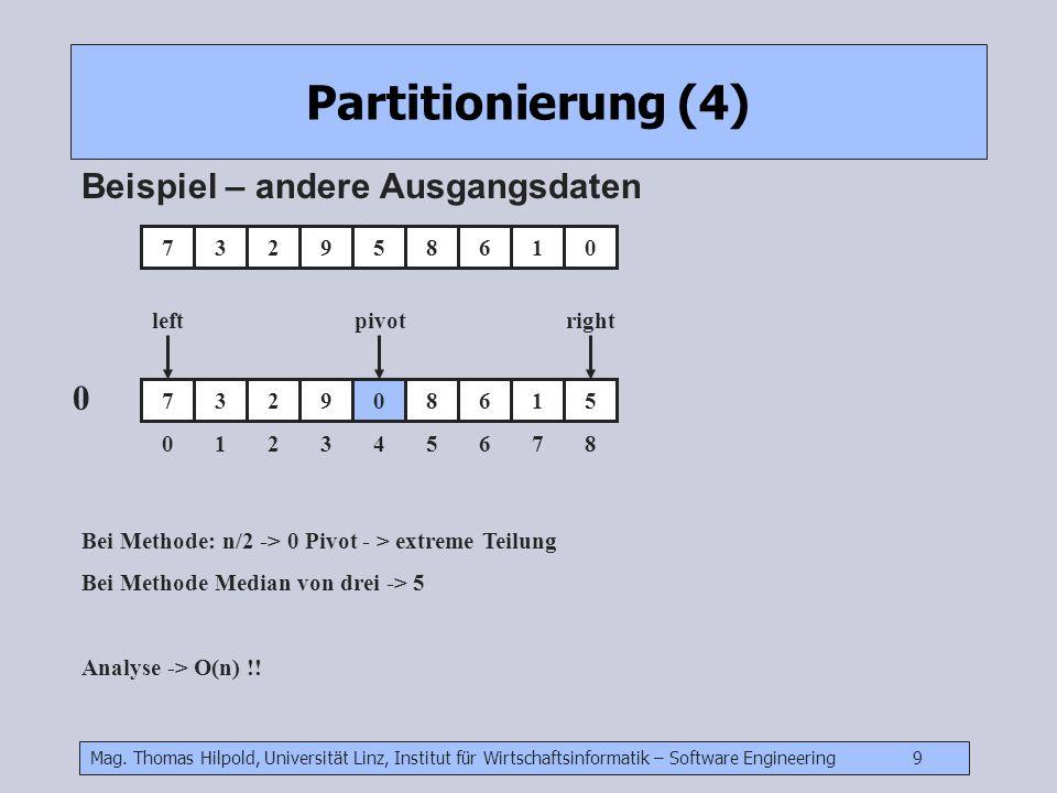 Mag. Thomas Hilpold, Universität Linz, Institut für Wirtschaftsinformatik – Software Engineering 9 Partitionierung (4) Beispiel – andere Ausgangsdaten