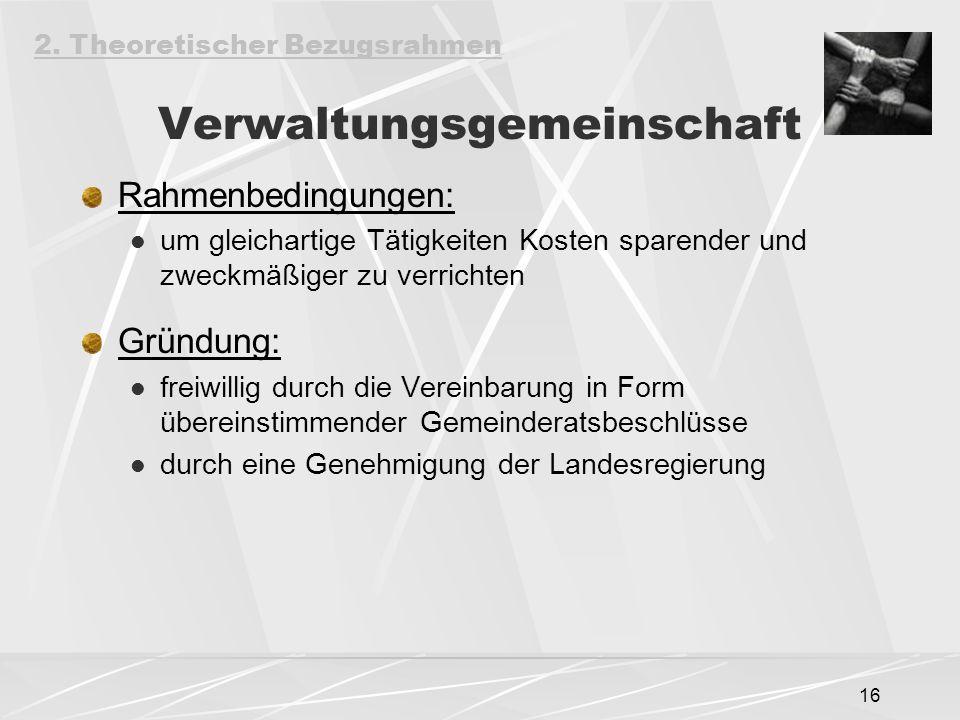 16 Verwaltungsgemeinschaft Rahmenbedingungen: um gleichartige Tätigkeiten Kosten sparender und zweckmäßiger zu verrichten Gründung: freiwillig durch die Vereinbarung in Form übereinstimmender Gemeinderatsbeschlüsse durch eine Genehmigung der Landesregierung 2.