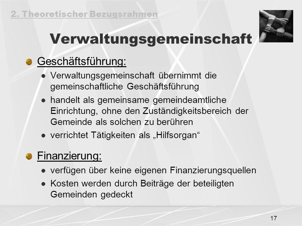 17 Verwaltungsgemeinschaft Geschäftsführung: Verwaltungsgemeinschaft übernimmt die gemeinschaftliche Geschäftsführung handelt als gemeinsame gemeindea