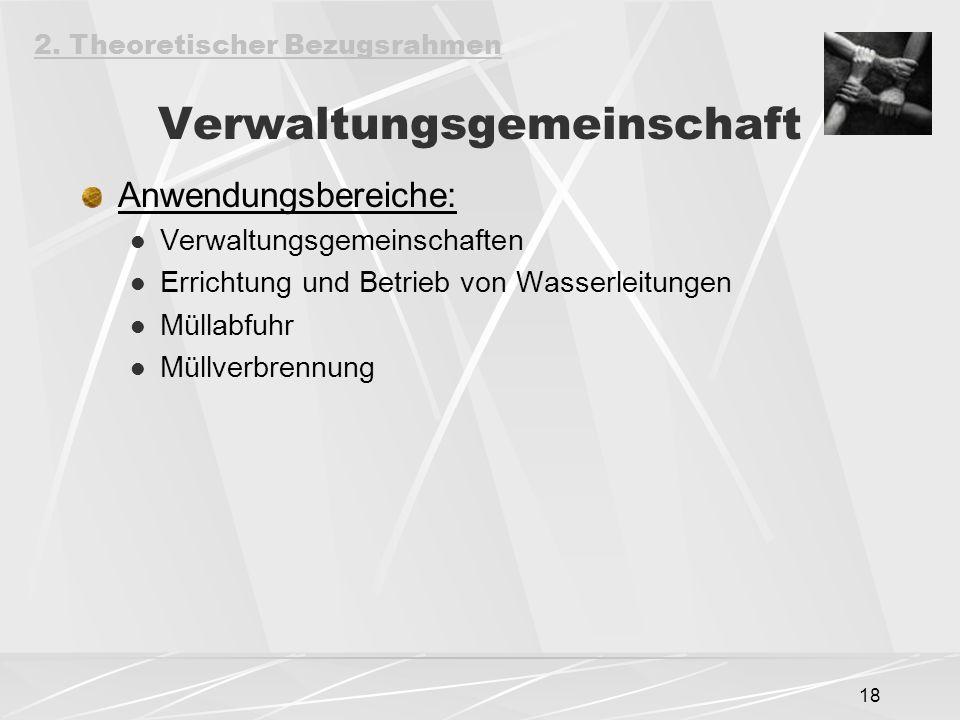 18 Verwaltungsgemeinschaft Anwendungsbereiche: Verwaltungsgemeinschaften Errichtung und Betrieb von Wasserleitungen Müllabfuhr Müllverbrennung 2.