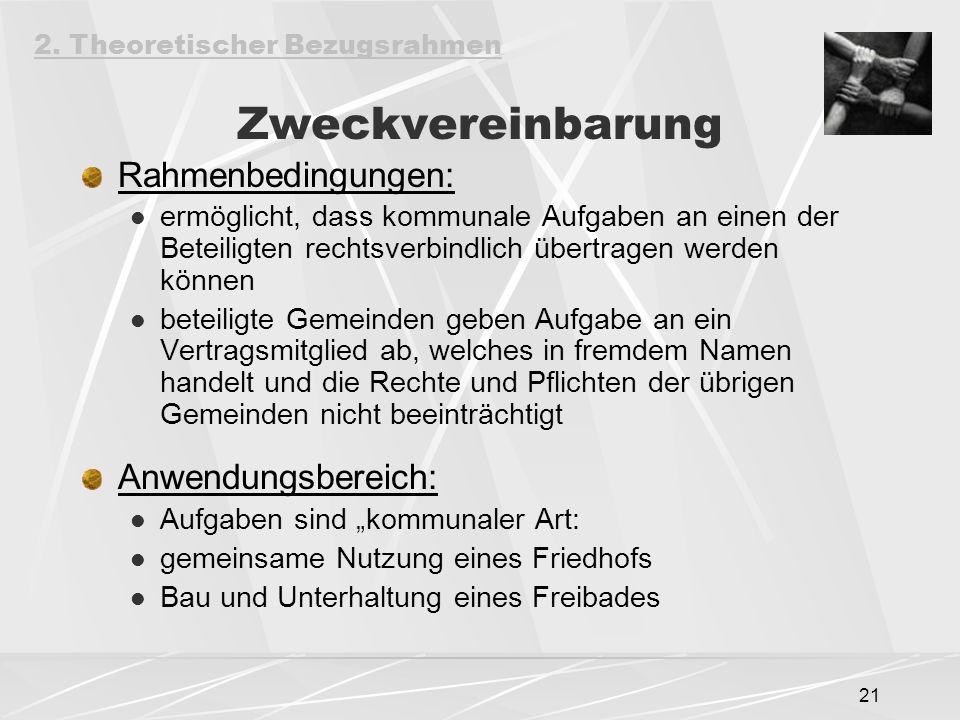 """21 Zweckvereinbarung Rahmenbedingungen: ermöglicht, dass kommunale Aufgaben an einen der Beteiligten rechtsverbindlich übertragen werden können beteiligte Gemeinden geben Aufgabe an ein Vertragsmitglied ab, welches in fremdem Namen handelt und die Rechte und Pflichten der übrigen Gemeinden nicht beeinträchtigt Anwendungsbereich: Aufgaben sind """"kommunaler Art: gemeinsame Nutzung eines Friedhofs Bau und Unterhaltung eines Freibades 2."""