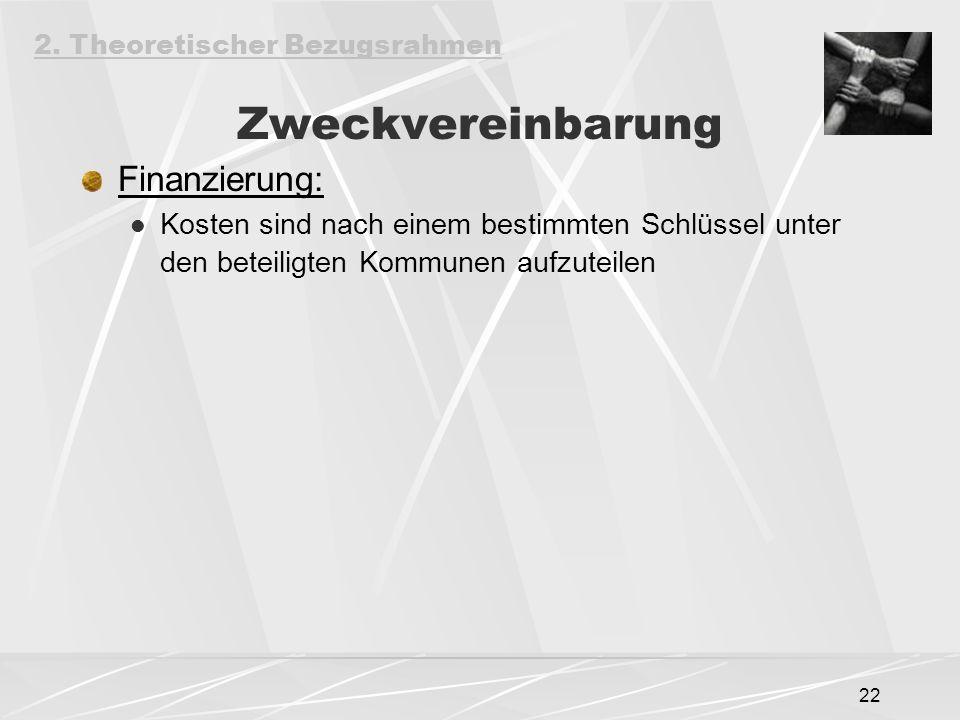 22 Zweckvereinbarung Finanzierung: Kosten sind nach einem bestimmten Schlüssel unter den beteiligten Kommunen aufzuteilen 2.