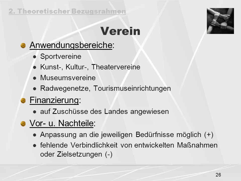 26 Verein Anwendungsbereiche: Sportvereine Kunst-, Kultur-, Theatervereine Museumsvereine Radwegenetze, Tourismuseinrichtungen Finanzierung: auf Zuschüsse des Landes angewiesen Vor- u.