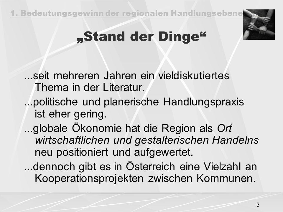 """3 """"Stand der Dinge ...seit mehreren Jahren ein vieldiskutiertes Thema in der Literatur....politische und planerische Handlungspraxis ist eher gering....globale Ökonomie hat die Region als Ort wirtschaftlichen und gestalterischen Handelns neu positioniert und aufgewertet....dennoch gibt es in Österreich eine Vielzahl an Kooperationsprojekten zwischen Kommunen."""