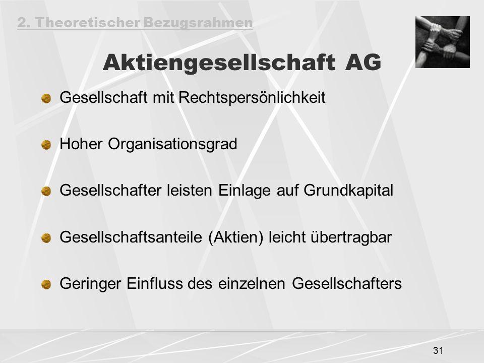 31 Aktiengesellschaft AG Gesellschaft mit Rechtspersönlichkeit Hoher Organisationsgrad Gesellschafter leisten Einlage auf Grundkapital Gesellschaftsanteile (Aktien) leicht übertragbar Geringer Einfluss des einzelnen Gesellschafters 2.