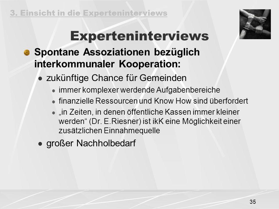 35 Experteninterviews Spontane Assoziationen bezüglich interkommunaler Kooperation: zukünftige Chance für Gemeinden immer komplexer werdende Aufgabenb