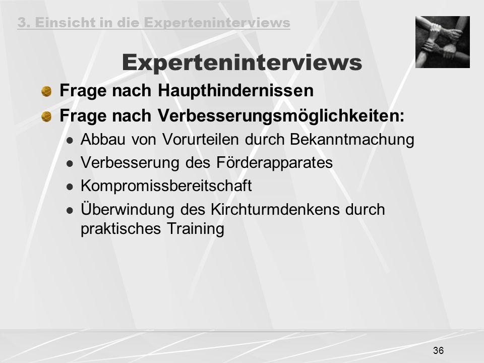 36 Experteninterviews Frage nach Haupthindernissen Frage nach Verbesserungsmöglichkeiten: Abbau von Vorurteilen durch Bekanntmachung Verbesserung des