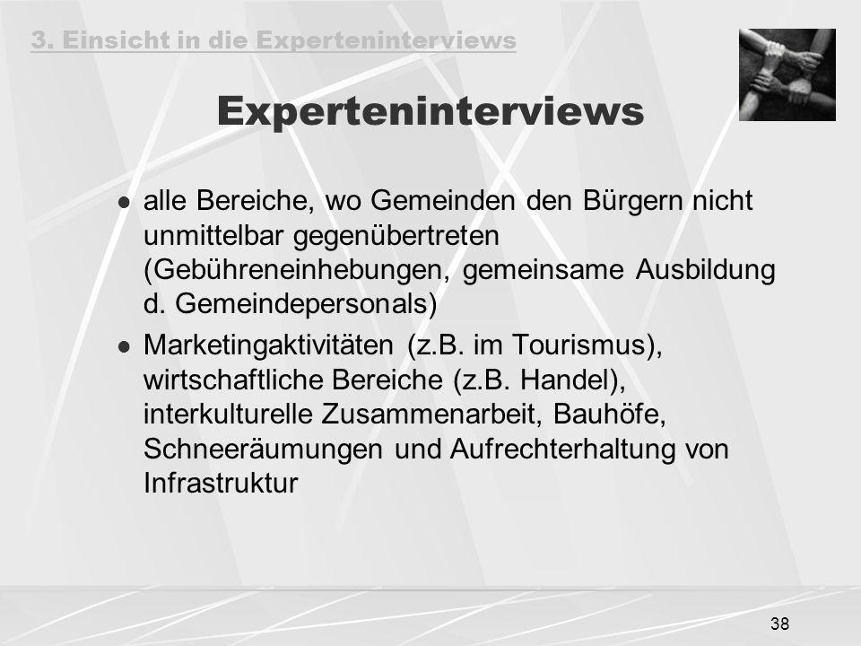 38 Experteninterviews alle Bereiche, wo Gemeinden den Bürgern nicht unmittelbar gegenübertreten (Gebühreneinhebungen, gemeinsame Ausbildung d. Gemeind
