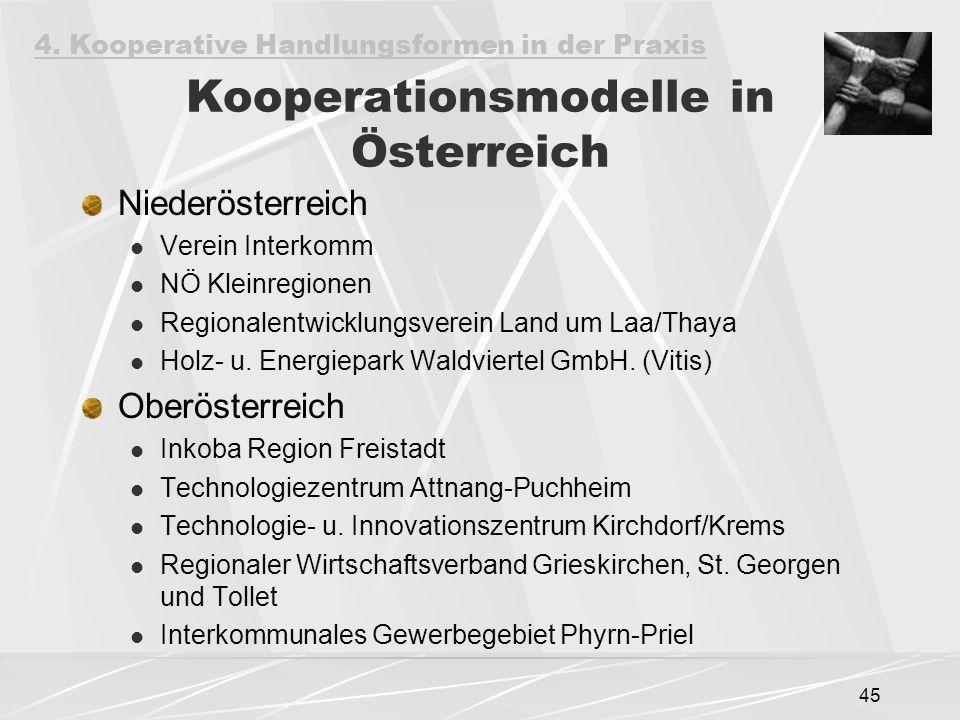45 Kooperationsmodelle in Österreich Niederösterreich Verein Interkomm NÖ Kleinregionen Regionalentwicklungsverein Land um Laa/Thaya Holz- u. Energiep
