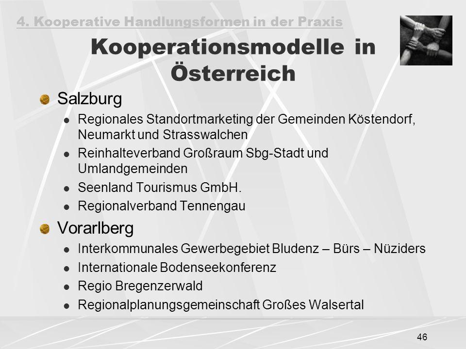46 Kooperationsmodelle in Österreich Salzburg Regionales Standortmarketing der Gemeinden Köstendorf, Neumarkt und Strasswalchen Reinhalteverband Großraum Sbg-Stadt und Umlandgemeinden Seenland Tourismus GmbH.