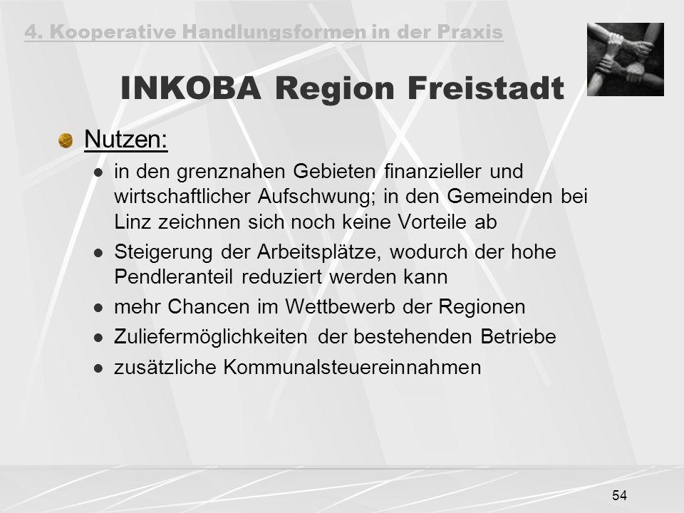 54 INKOBA Region Freistadt Nutzen: in den grenznahen Gebieten finanzieller und wirtschaftlicher Aufschwung; in den Gemeinden bei Linz zeichnen sich noch keine Vorteile ab Steigerung der Arbeitsplätze, wodurch der hohe Pendleranteil reduziert werden kann mehr Chancen im Wettbewerb der Regionen Zuliefermöglichkeiten der bestehenden Betriebe zusätzliche Kommunalsteuereinnahmen 4.