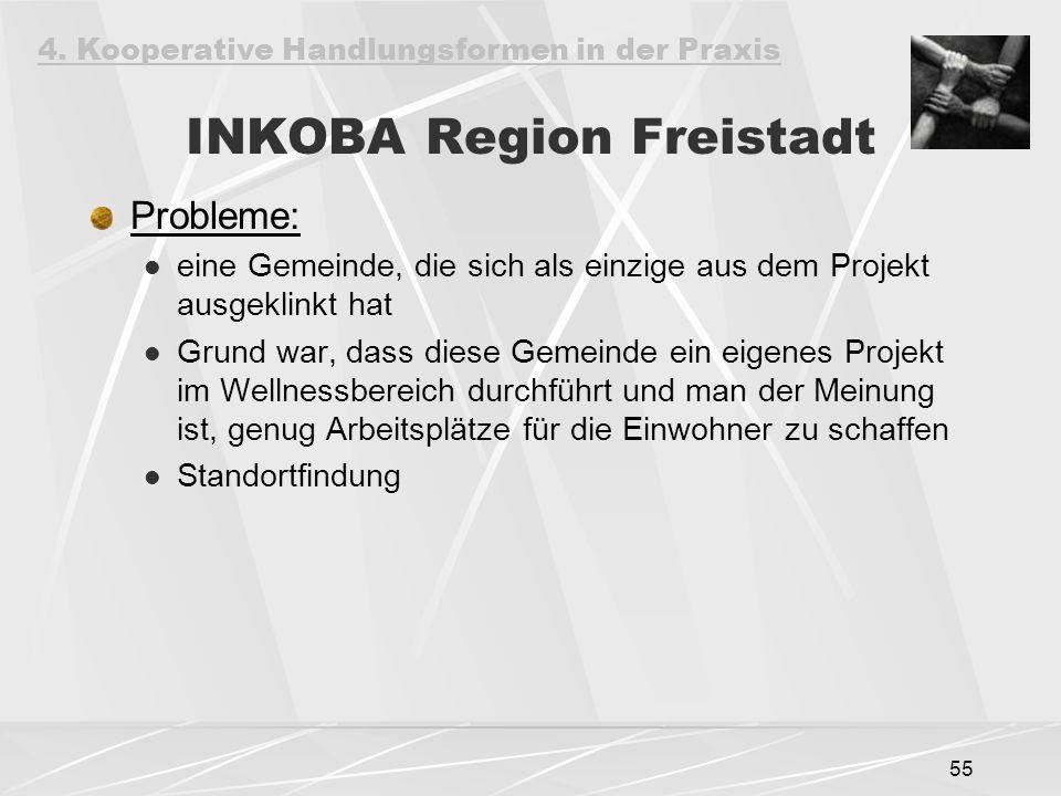 55 INKOBA Region Freistadt Probleme: eine Gemeinde, die sich als einzige aus dem Projekt ausgeklinkt hat Grund war, dass diese Gemeinde ein eigenes Projekt im Wellnessbereich durchführt und man der Meinung ist, genug Arbeitsplätze für die Einwohner zu schaffen Standortfindung 4.