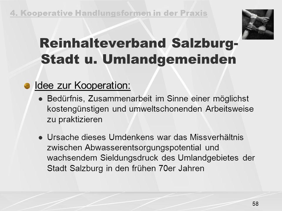 58 Reinhalteverband Salzburg- Stadt u. Umlandgemeinden Idee zur Kooperation: Bedürfnis, Zusammenarbeit im Sinne einer möglichst kostengünstigen und um